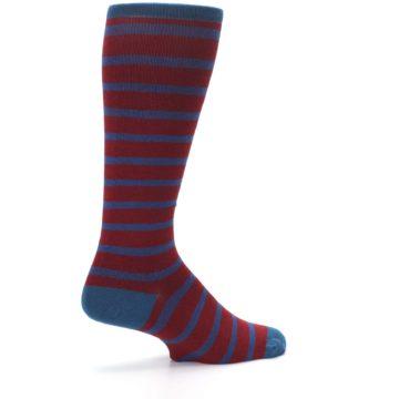 Image of Red Blue Stripe Men's Compression Dress Socks (side-1-23)