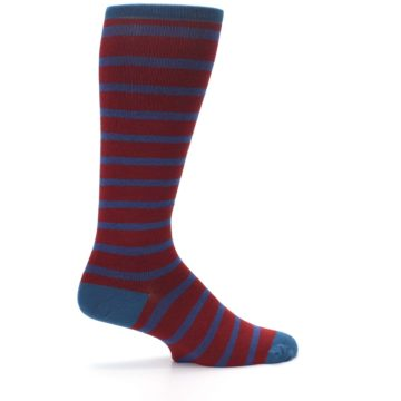 Image of Red Blue Stripe Men's Compression Dress Socks (side-1-24)