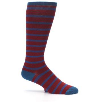 Image of Red Blue Stripe Men's Compression Dress Socks (side-1-25)