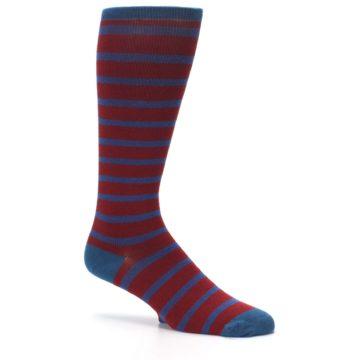 Image of Red Blue Stripe Men's Compression Dress Socks (side-1-26)