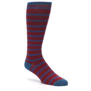 Image of Red Blue Stripe Men's Compression Dress Socks (side-1-27)