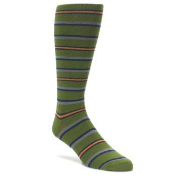 Image of Olive Orange Stripe Men's Compression Dress Socks (side-1-front-01)