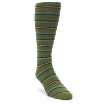 Image of Olive Orange Stripe Men's Compression Dress Socks (side-1-front-02)