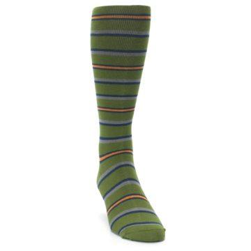 Image of Olive Orange Stripe Men's Compression Dress Socks (side-1-front-03)