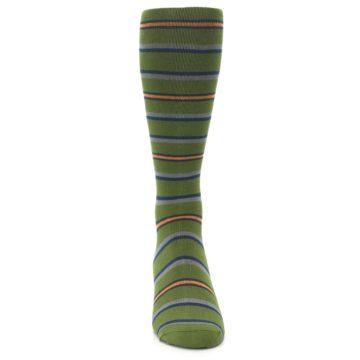 Image of Olive Orange Stripe Men's Compression Dress Socks (front-04)