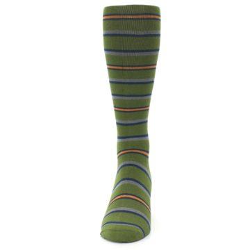 Image of Olive Orange Stripe Men's Compression Dress Socks (front-05)