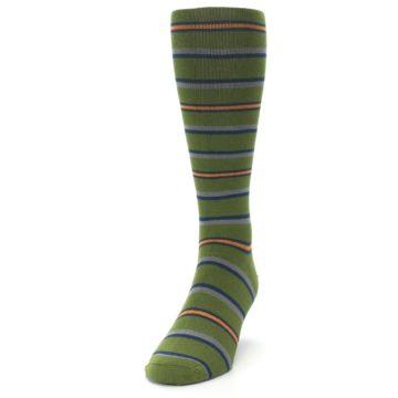 Image of Olive Orange Stripe Men's Compression Dress Socks (side-2-front-06)