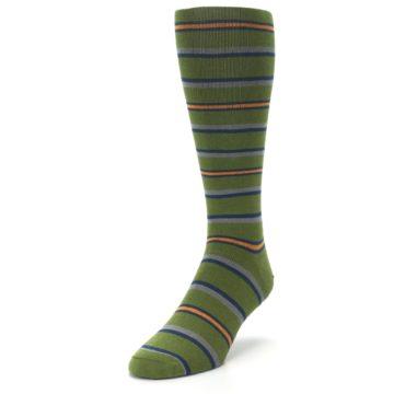 Image of Olive Orange Stripe Men's Compression Dress Socks (side-2-front-07)