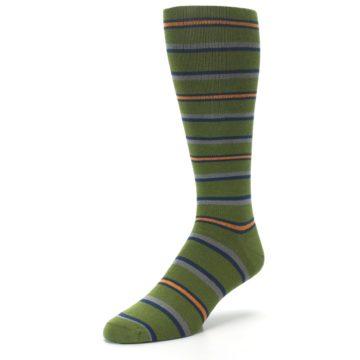 Image of Olive Orange Stripe Men's Compression Dress Socks (side-2-front-08)
