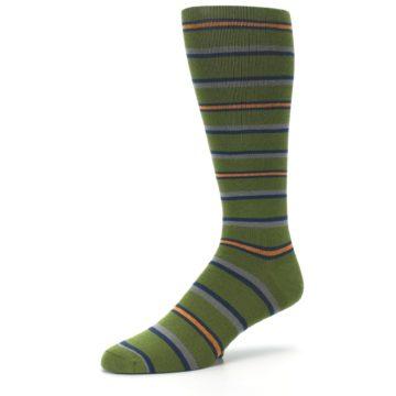 Image of Olive Orange Stripe Men's Compression Dress Socks (side-2-09)