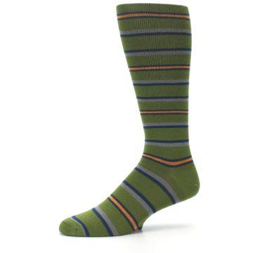Image of Olive Orange Stripe Men's Compression Dress Socks (side-2-10)
