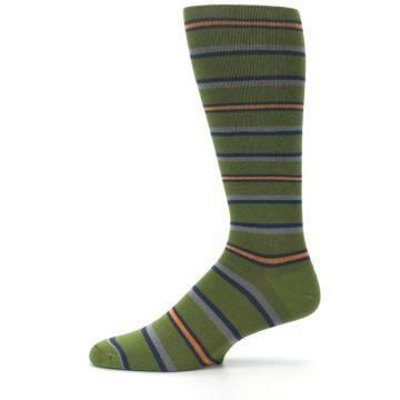 Image of Olive Orange Stripe Men's Compression Dress Socks (side-2-11)