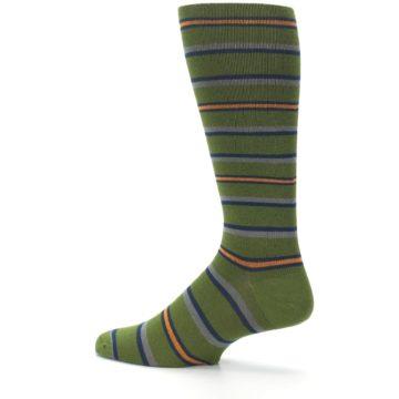 Image of Olive Orange Stripe Men's Compression Dress Socks (side-2-13)