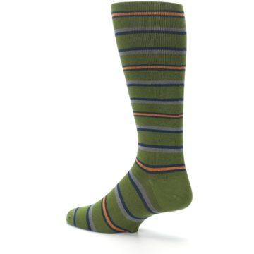 Image of Olive Orange Stripe Men's Compression Dress Socks (side-2-back-14)