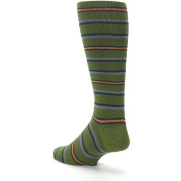 Image of Olive Orange Stripe Men's Compression Dress Socks (side-2-back-15)