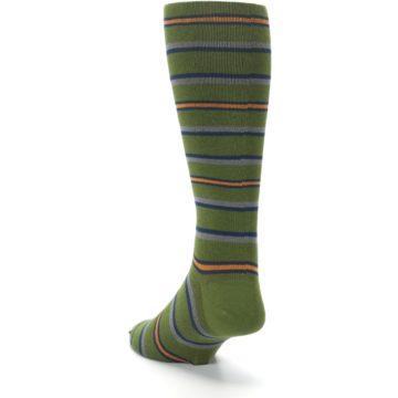 Image of Olive Orange Stripe Men's Compression Dress Socks (side-2-back-16)