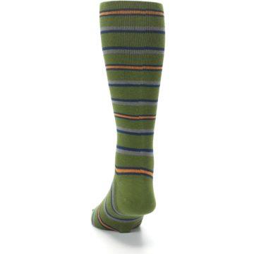 Image of Olive Orange Stripe Men's Compression Dress Socks (back-17)