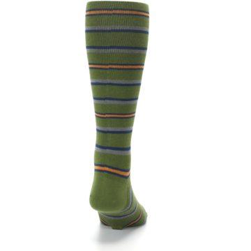 Image of Olive Orange Stripe Men's Compression Dress Socks (back-19)