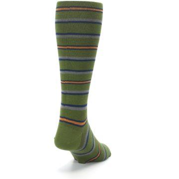 Image of Olive Orange Stripe Men's Compression Dress Socks (side-1-back-20)