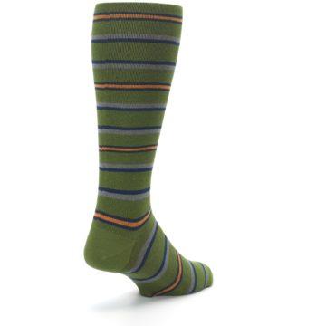 Image of Olive Orange Stripe Men's Compression Dress Socks (side-1-back-21)