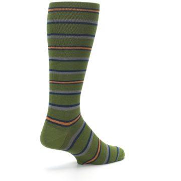 Image of Olive Orange Stripe Men's Compression Dress Socks (side-1-back-22)