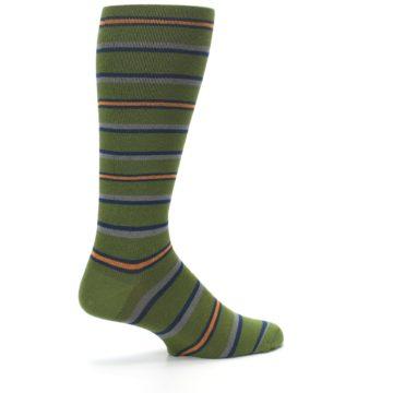 Image of Olive Orange Stripe Men's Compression Dress Socks (side-1-23)