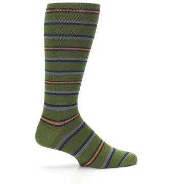 Image of Olive Orange Stripe Men's Compression Dress Socks (side-1-24)