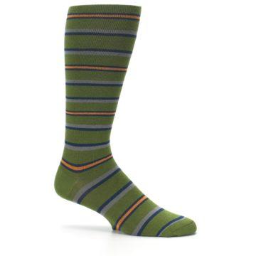 Image of Olive Orange Stripe Men's Compression Dress Socks (side-1-25)
