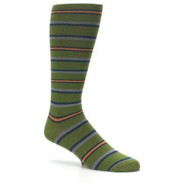 Image of Olive Orange Stripe Men's Compression Dress Socks (side-1-26)