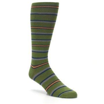 Image of Olive Orange Stripe Men's Compression Dress Socks (side-1-27)