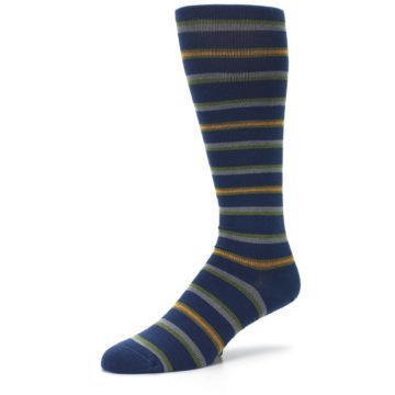 Image of Navy Orange Stripe Men's Compression Dress Socks (side-2-09)