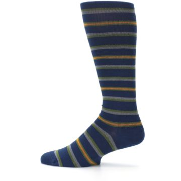 Image of Navy Orange Stripe Men's Compression Dress Socks (side-2-12)