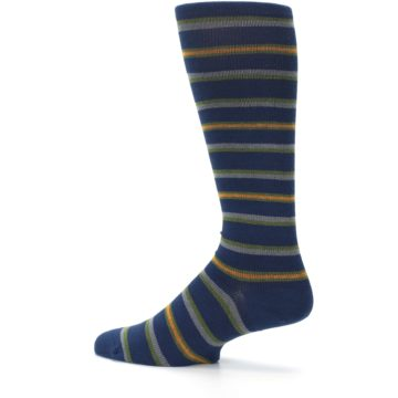 Image of Navy Orange Stripe Men's Compression Dress Socks (side-2-13)