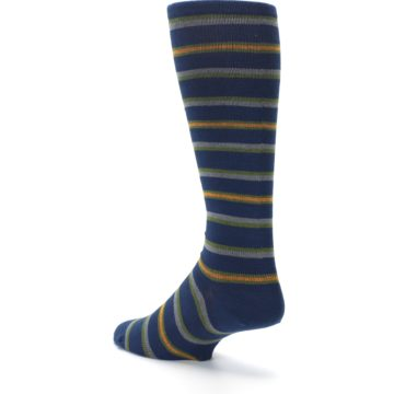Image of Navy Orange Stripe Men's Compression Dress Socks (side-2-back-15)