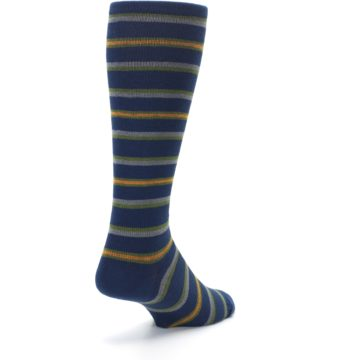 Image of Navy Orange Stripe Men's Compression Dress Socks (side-1-back-21)
