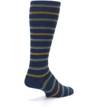 Image of Navy Orange Stripe Men's Compression Dress Socks (side-1-back-22)