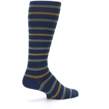 Image of Navy Orange Stripe Men's Compression Dress Socks (side-1-23)