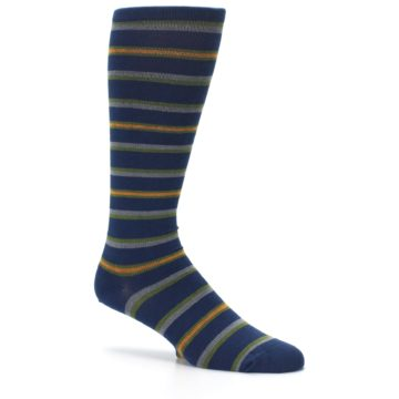 Image of Navy Orange Stripe Men's Compression Dress Socks (side-1-26)