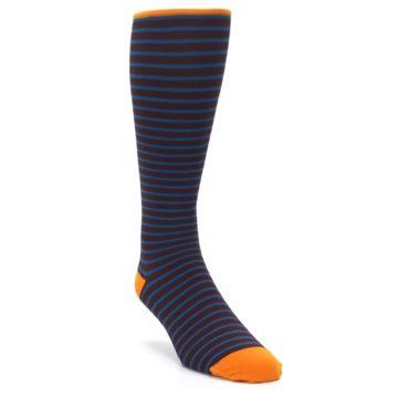 Image of Brown Teal Stripe Men's Compression Dress Socks (side-1-front-02)