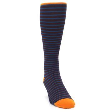 Image of Brown Teal Stripe Men's Compression Dress Socks (side-1-front-03)