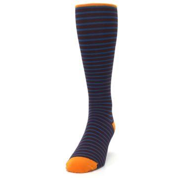 Image of Brown Teal Stripe Men's Compression Dress Socks (side-2-front-06)