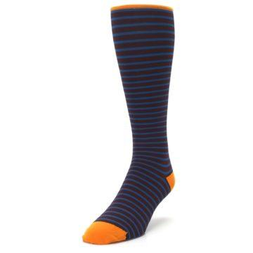 Image of Brown Teal Stripe Men's Compression Dress Socks (side-2-front-07)