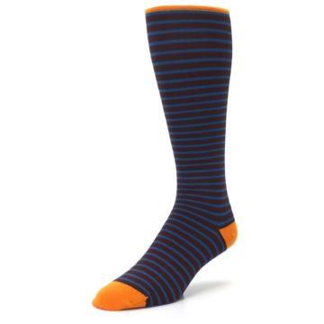 Image of Brown Teal Stripe Men's Compression Dress Socks (side-2-front-08)