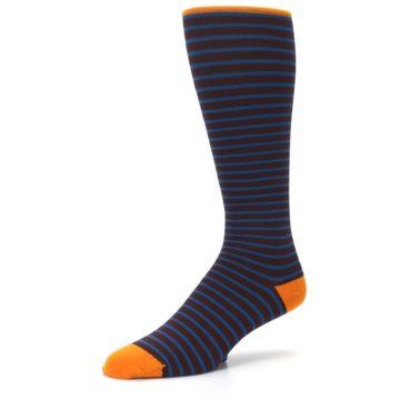 Image of Brown Teal Stripe Men's Compression Dress Socks (side-2-09)