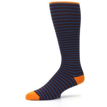 Image of Brown Teal Stripe Men's Compression Dress Socks (side-2-10)