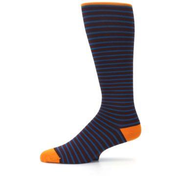 Image of Brown Teal Stripe Men's Compression Dress Socks (side-2-11)