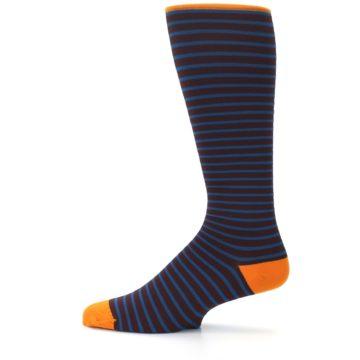 Image of Brown Teal Stripe Men's Compression Dress Socks (side-2-12)
