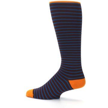 Image of Brown Teal Stripe Men's Compression Dress Socks (side-2-13)