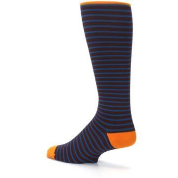 Image of Brown Teal Stripe Men's Compression Dress Socks (side-2-back-14)