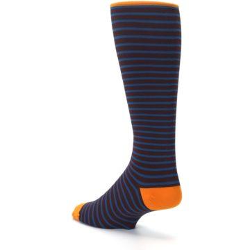 Image of Brown Teal Stripe Men's Compression Dress Socks (side-2-back-15)